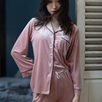 睡衣女春秋韩版长袖女士学生家居服冬季长裤金丝绒两件套装可外穿