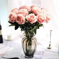 仿真玫瑰花束套装 塑料花假花客厅装饰花绢花餐桌摆件花艺带花瓶