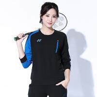 YONEX尤尼克斯羽毛球服 秋冬季女士圆领运动卫衣长袖 上衣套头衫运动服 运动长裤