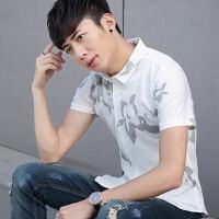 夏季新款男士短袖�r衫�n版修身2018青少年休�e印花�r衣男