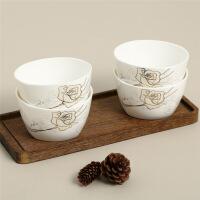 【当当自营】SKYTOP斯凯绨 陶瓷骨瓷餐具 永恒玫瑰4.5英寸方碗(4只装)