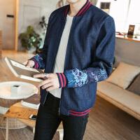 新款复古中国风时尚民族风刺绣牛仔外套加大码男装夹克外套