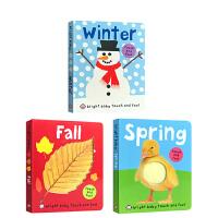 英文原版 Bright Baby Touch and Feel系列3册 儿童启蒙认知纸板触摸书 感官刺激 0-3-6岁亲子互动趣味图画书