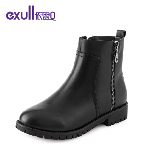 依思q冬季新款厚底粗跟平底短靴侧拉链女靴