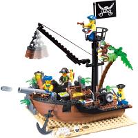儿童积木小颗粒拼装插玩具智力加勒比海盗船破船坞男孩模型6-10岁