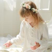 女童睡衣公主长袖家居服宝宝睡裙小女孩亲子纯色儿童童装棉宽松裙