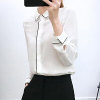 2018春季新款韩版白色雪纺衬衫女长袖宽松女士职业衬衣打底上衣 白色