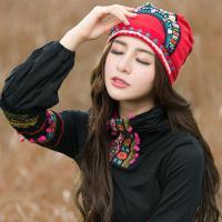 原创设计刺绣钉珠民族风绣花帽子女士旅行帽云南民族风头巾女帽子