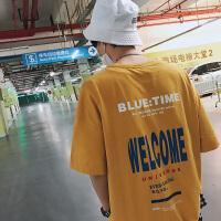 潮流男士体恤夏装新款韩版薄款字母印花学生宽松圆领短袖5分T恤