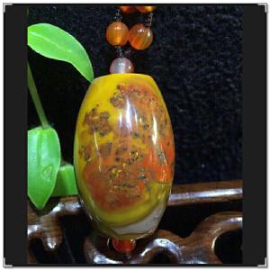 天然玛瑙战国红大桶珠坠子+项链AHO972