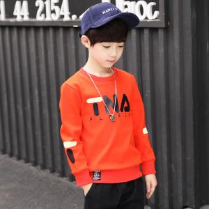 乌龟先森 T恤 男童加绒圆领长袖字母打底衫秋冬季新款韩版儿童时尚休闲个性舒适百搭中大童卫衣