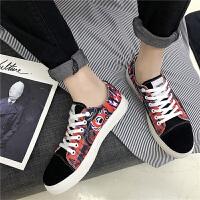 男鞋2018春季新款休闲鞋 中学生板鞋男青年运动帆布鞋韩版 拼色鞋子男