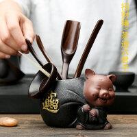 紫砂茶宠茶盘摆件家用黑檀木六君子茶道配件功夫茶具创意茶艺套装