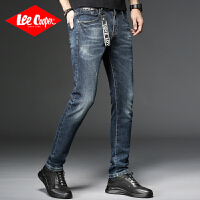 Lee Cooper新款男式牛仔裤挂件刮花小脚裤潮流男秋季新韩修身青年个性牛仔裤