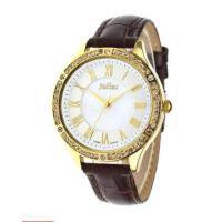 聚利时(Julius)石英手表 真皮表带 圆形表盘镶钻环绕 时尚女士手表 JA-695