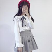 秋冬新款学院风蝴蝶结荷叶领宽松长袖白色衬衫女加绒加厚学生衬衣