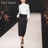FLEUR WOOD2017秋季新款女装欧洲站宽松灯笼袖高领毛衣7分裤套装