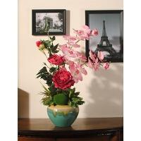 牡丹花仿真花套装陶瓷花瓶绢花摆设假花装饰花艺