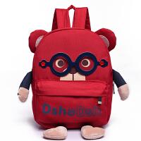 2018新款幼儿园可爱儿童书包眼镜小熊双肩包2-7岁大小号双肩背包 红色大号 适合大班4-8岁