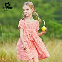【2件5折夏装到手价:99.5】小猪班纳童装女童夏季纯棉维希格纹连衣裙方形领口高腰女童梭织裙