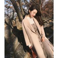 毛呢背带裙两件套女秋冬新款中长款韩版系带显瘦高腰a字连衣裙子