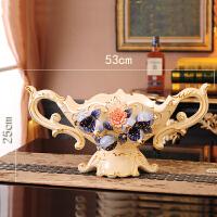 水果盘客厅创意家用简约茶几果盆欧式奢华陶瓷高脚果盘装饰摆件品