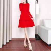 连衣裙女秋冬小众娃娃egg裙针织毛衣加厚红色连衣裙