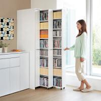 百意空间定制书柜 简约现代抽拉书柜 小户型大容量抽屉书架 可伸缩带滑轮