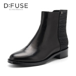 迪芙斯(D:FUSE)冬专柜同款羊皮革方头拼色纹休闲女短靴DF84116493