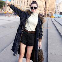 过膝长款牛仔棉衣女冬装收腰显瘦加绒保暖大衣加厚外套