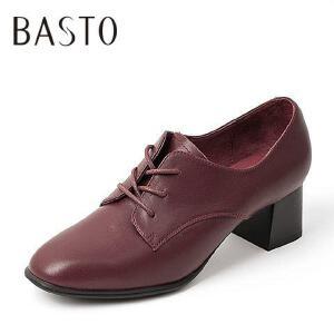 BASTO/百思图专柜同款牛皮中粗跟系带女皮鞋单鞋16C23CM6