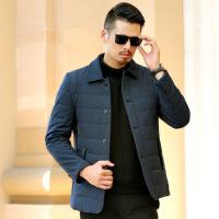 中年男棉衣爸爸冬装外套中老年人男装薄款翻领40岁50棉袄秋冬 深蓝色