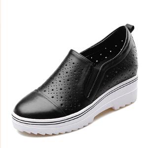 【17新品】阿么系带运动鞋女平底学生鞋小白鞋女羊皮单鞋