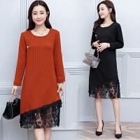 冬季韩版女装大码显瘦针织蕾丝打底衫裙中长款加绒加厚连衣裙