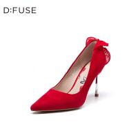 迪芙斯(DFUSE)2019年春季专柜同款绒面羊皮革高跟鞋女鞋DF91111002