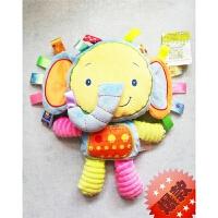 新生婴儿童标签手抓安抚巾 宝宝睡眠安抚玩具婴儿响摇铃玩偶