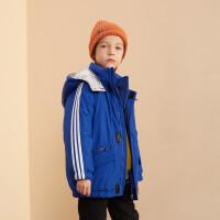【2件4折:116】巴拉巴拉旗下巴拉巴拉2019冬男童儿童棉衣中大童潮流撞色中长棉服外套
