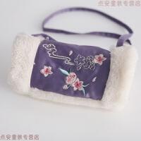 女童旗袍冬装儿童唐装女中国风汉服童装过年喜庆宝宝装新年拜年服 紫罗兰包 仅包包