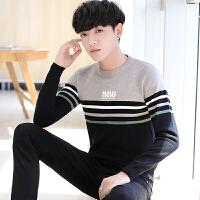 针织衫男秋装男士毛衣个性条纹圆领线衣冬季韩版潮流帅气