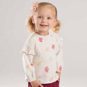 戴维贝拉春秋新款女童T恤 宝宝印花长袖上衣DBJ8596