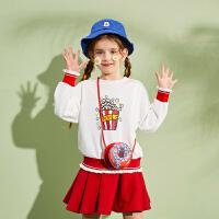 【2件3折:108.9】巴拉巴拉旗下巴帝巴帝女童套装裙儿童卫衣短裙2020春装新款可爱两件套女
