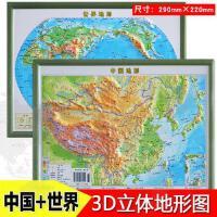2018新版 中国地形+世界地形 3D打印立体地图 1:23500000 中国地形图世界地图立体 三维 中国世界地理地