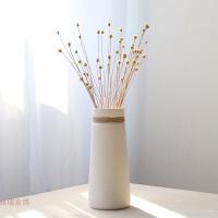 简约现代客厅家居创意摆件白色麻绳日式陶瓷文艺水培清新干花花瓶 套装+2快乐花