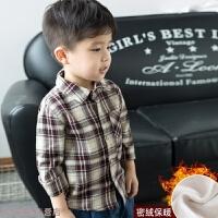 冬季童装儿童加绒衬衫长袖小童秋季男童韩版格子衬衣宝宝上衣秋冬新款