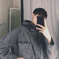 2018春季新款韩版灯芯绒连帽夹克男士纯色宽松夹克衫春装青年外套