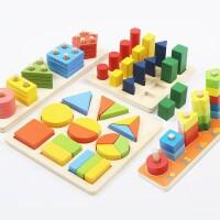 创意七巧板木质拼图几何积木儿童手抓区玩具幼儿园中小班材料儿童节礼物