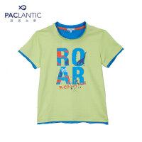 派克兰帝童装 儿童夏季纯棉T恤男童恐龙字母短袖T恤