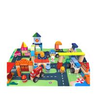 儿童积木玩具木制 1-2-3-6周岁女孩宝宝大颗粒积木男孩益智玩具 套餐D 124粒积木