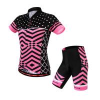 短袖骑行服套装女款 山地自行车夏季透气速干吸湿排汗上衣 硅胶垫短裤 多色 彩菱 短袖套装升级款