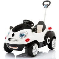 儿童电动车四轮卡通摇摆汽车宝宝可坐童车遥控玩具车可坐人手推 孩智堡【熊猫白】全功能+皮座 +发光轮+弹球